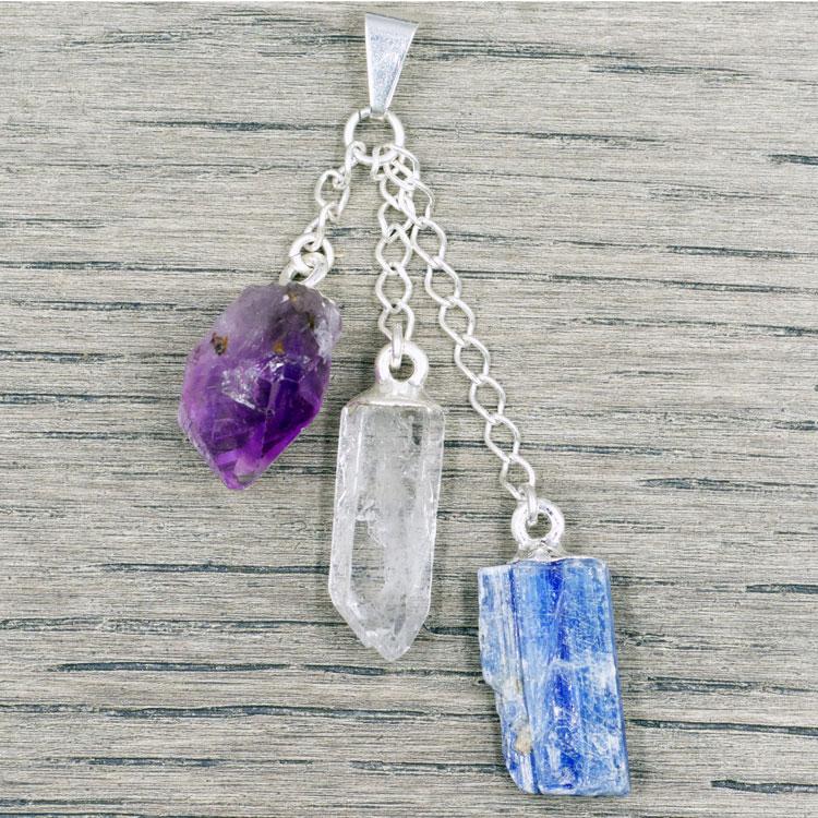 Amethyst - Clear Quartz - Blue Kyanite Pendant