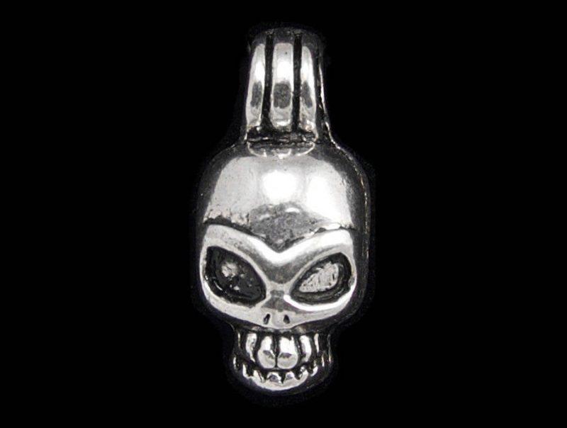 Antique Silver Skull Dangle Pendant Charm - Set of 6