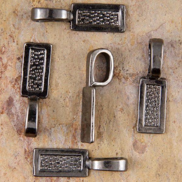 Gunmetal Medium Rectangle Glue on Pendant Bails - Set of 5 or 10