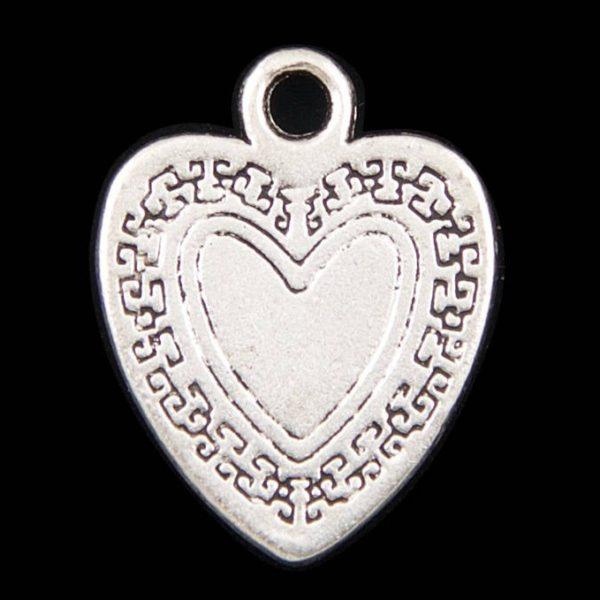 Antique Silver Flat Heart Charm Pendant - Set of 3