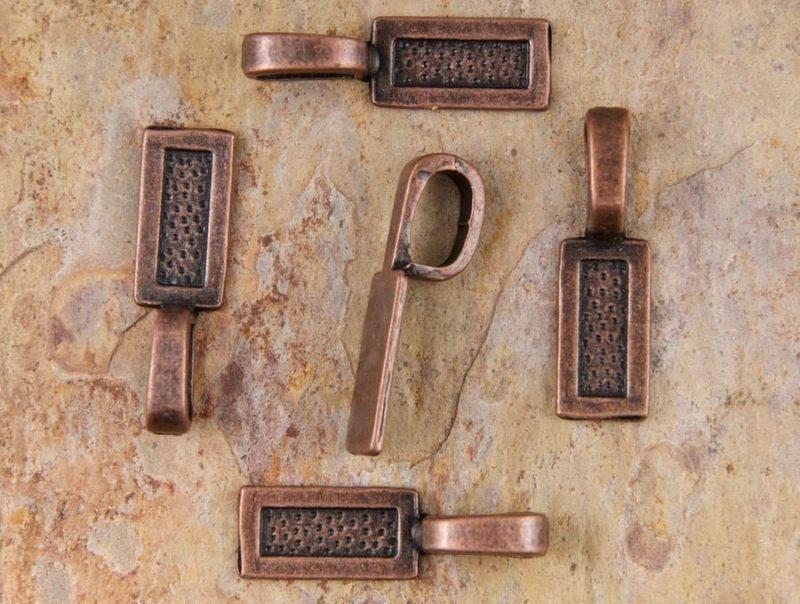 Antique Copper Medium Rectangle Glue on Pendant Bails - Set of 5 or 10