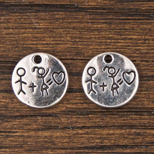 Boy plus Girl equals Love Small Charm in Antique Silver