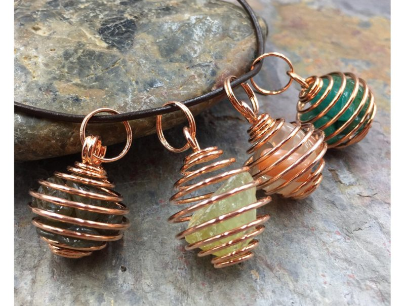 Copper Spiral Cage Pendant  –  Includes your choice of Healing Stones & Crystals