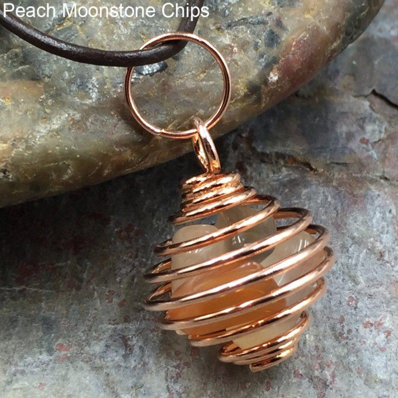 Peach Moonstone in Copper Cage