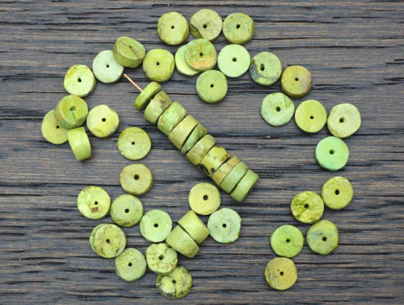 Yellow Turquoise 10 mm Heishi Beads - Set of 10 | Yellow Turquoise Round Beads | Natural Stone Beads