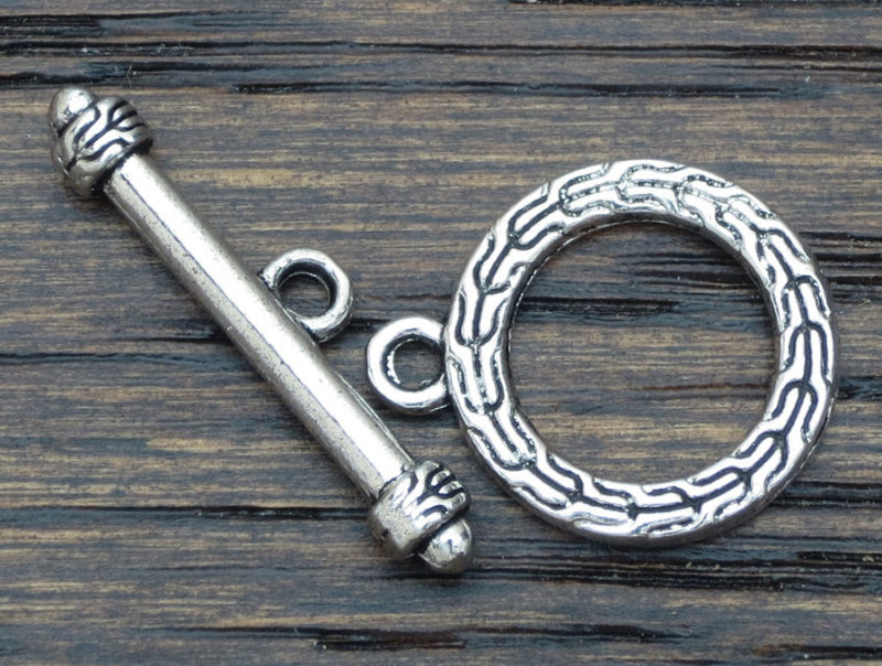 Single Strand Toggle Clasps  –  Antique Silver 15.65 mm Toggle Clasps