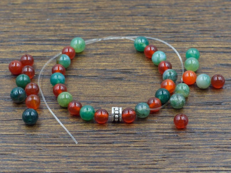 Attract Abundance DIY Bracelet | Build a Bracelet | Includes Carnelian + Moss Agate + Elastic + Spacer Bead | Design Layout is your choice!