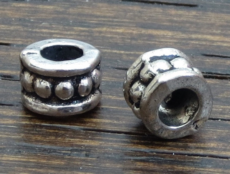 Small Dot Design Cylinder Spacer Beads  –  Antique Silver 6 x 4.2 mm Spacer Beads