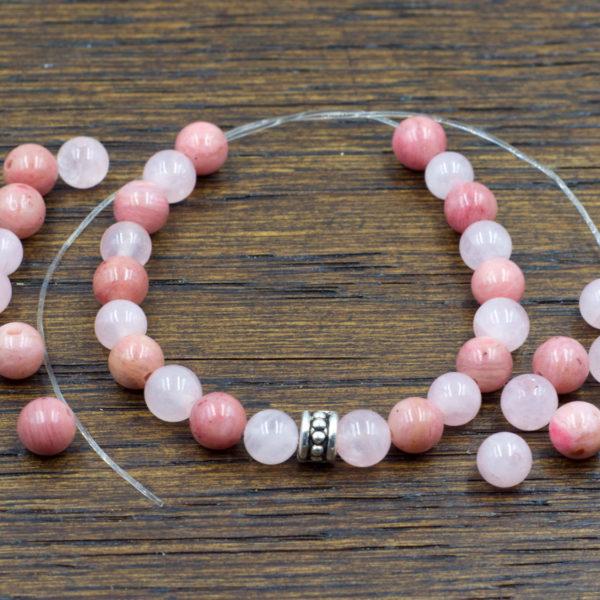 Attract Love DIY Bracelet | Build a Bracelet | Includes Rose Quartz + Rhodonite + Elastic + Spacer Bead | Design Layout is your choice!