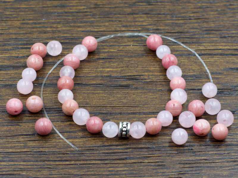 Attract Love DIY Bracelet   Build a Bracelet   Includes Rose Quartz + Rhodonite + Elastic + Spacer Bead   Design Layout is your choice!