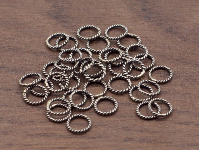 6.5 mm Sterling Silver Jump Rings (Soldered Closed) | 5 or 10 pieces | Oxidized Sterling Twisted Rope Jump Ring | Sterling Silver findings