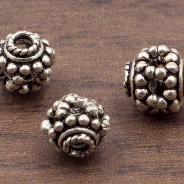 7 mm Ornate Sterling Silver Granulated Flower Spacer or Focal Bead | Sterling Silver Beads | Oxidized 925 Sterling Silver | One (1) Bead