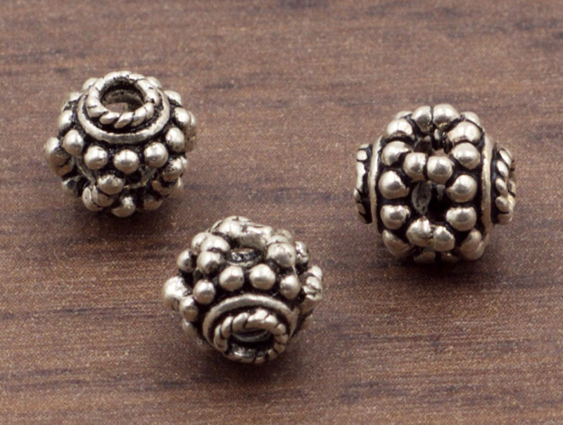 7 mm Ornate Sterling Silver Granulated Flower Spacer or Focal Bead   Sterling Silver Beads   Oxidized 925 Sterling Silver   One (1) Bead
