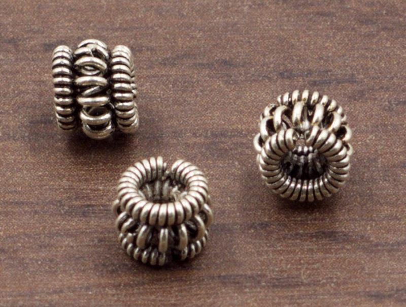 6 mm Sterling Silver Barrel Spacer Bead | Sterling Silver Beads | Oxidized 925 Sterling Silver Ornate Beads | One (1) Bead