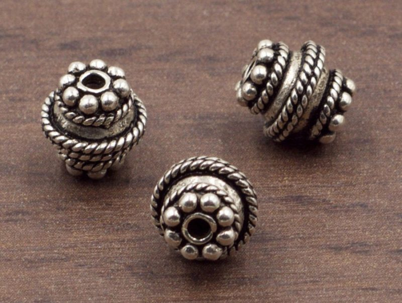 8 mm Ornate Sterling Silver Granulated Barrel Spacer or Focal Bead | Sterling Silver Beads | Oxidized 925 Sterling Silver | One (1) Bead