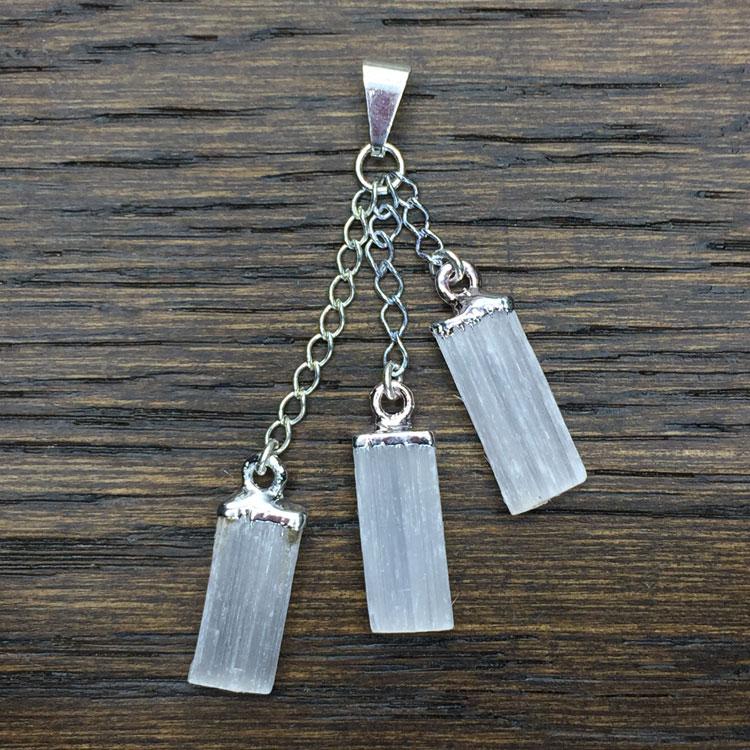 Triple Selenite Crystal Pendant