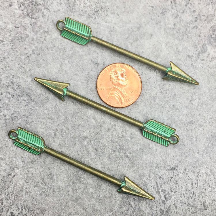Green Patina Arrow Pendant Charms
