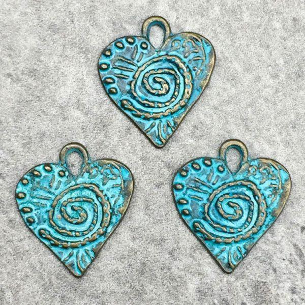 Blue Green Patina Heart Charms